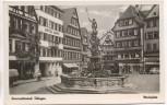 AK Foto Tübingen Marktplatz mit Hotel Lamm und Brunnen Autos 1950