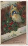 Präge-AK Ein frohes Weihnachtsfest Golddruck Vögel mit Beeren 1913