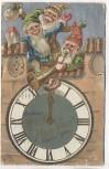 Präge-AK Happy New Year Golddruck und Silber Zwerge mit der Uhr 1908