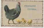 Präge-AK Fröhliche Ostern Henne mit 3 Küken 1913