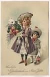 Präge-AK Herzlichen Glückwunsch zum Neuen Jahre 2 Kinder mit Blumenstrauß 1908