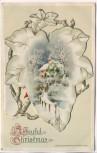 Präge-AK Klappkarte A Joyful Christmas Efeu mit Winterstern John Wisch 1914 RAR