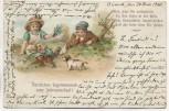 AK Herzlichen Segenswunsch zum Jahreswechsel Gedicht 2 Kinder mit Hund 1908