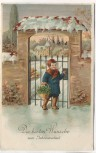 Präge-AK Die besten Wünsche zum Jahreswechsel Kind mit Korb am Tor im Winter 1914