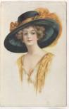 Künstler-AK Frau mit großem Hut gelb 1914