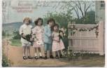 AK Herzlichen Glückwunsch zum Geburtstag ! 4 Kinder mit Blumenstrauss 1913