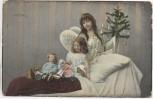 AK Engel mit Weihnachtsbaum Kind und Spielzeug Soldatenkarte 1909