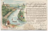 AK Gruss aus dem Saalethal Liedkarte Giebichenstein b. Halle 1903