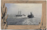 Künstler-AK Segelschiff und Dampfer 1907