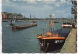 AK Foto Ludwigshafen am Rhein mit BASF-Hochhaus und Schiff Rhenus 1961
