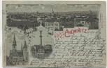 AK Mondschein Gruss aus Chemnitz Ortsansicht Siegesdenkmal Das alte Rathaus Feldpost 1916