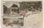 Litho Gruss aus Tochheim an der Elbe Gasthaus Landungsplatz b. Hohenlepte Zerbst 1905