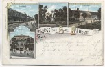 Litho Gruss aus Bad Elmen Erlenbad Lindenbad Salzelmen Schönebeck Elbe 1898