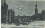 VERKAUFT !!!   Mondschein-AK Gruß aus Hamburg Fleth bei der Reimersbrücke 1898
