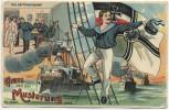 AK Gruss von der Musterung Vor der Commission Matrose vor Fahne Kriegsschiffe Patriotika 1914
