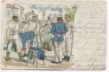 Litho Soldaten beim Wäsche waschen 1908
