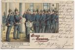 AK Gruss aus der Garnision Soldaten bei der Vereidigung Soldatenkarte 1908