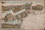 Litho Gruss aus Pforten Kräuterhandlung Brauerei Schule Rittergut Gera 1901
