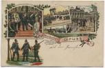 AK Litho Deutscher Gruss Kaiser Proklamation Wilhelm der Grosse 1871 gel. 1908