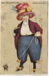 AK Die Hosenmode Jupe-culotte Frau in Hose mit Hund 1911