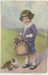 AK Kind Junge mit Hunden im Korb Katze schaut 1927