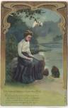 Präge-AK Frau auf Stein sitzend mit Gedicht Soldatenkarte 1908