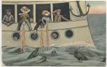 AK Auf hoher See Passagiere übergeben sich Kapitän lacht Soldatenkarte 1910