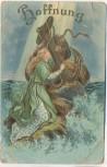 Präge-AK Hoffnung Frau mit Anker Golddruck Religion 1909