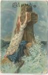 Präge-AK Glaube Frau vor Kreuz Golddruck Religion 1909