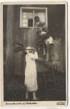 AK Foto Mauch's Kammerfensterln mit Nachwehen Mann mit Besen 1935