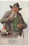 AK Scherzkarte Mann mit Bierkrug Saufst,... Stempel Gruss vom Hofbräuhaus München 1939