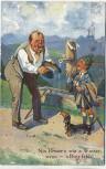 AK Scherzkarte Mann Wasser trinkend Stempel Gruss von der Fürther Kirchweih Fürth 1931