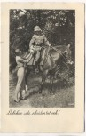 AK Foto Soldat mit Helm auf Pferd Liebchen ade, scheiden tut weh ! Feldpost 1940
