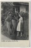 AK Foto Soldat mit Frau am Zaun 1939
