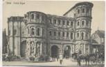 AK Trier Porta Nigra mit Pferdekutsche und Menschen 1911