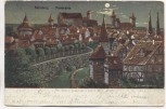 Künstler-AK Nürnberg Panorama Mondschein A. Landgren 1903
