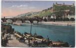 AK Würzburg Alte Mainbrücke mit Festung Boote Menschen Pferdekarren 1910