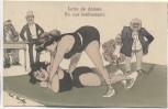 VERKAUFT !!!!       Künstler-AK Rud. Kristen Lutte de dames Frauen beim Ringen Männer schauen zu Verlag B.K.W. 1920 RAR