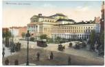 AK Warschau Warszawa Theaterplatz Plac teatralny mit Straßenbahn und Menschen Polen 1910
