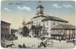 AK Lublin Magistrat mit Pferdekutschen und Menschen Polen 1910