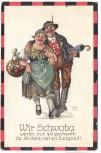 Künstler-AK Hans Boettcher Wir Schwoba werd´n mit 40 gscheidt ! de Andere net en Ewigkeit ! Mann mit Frau Feldpost 1914
