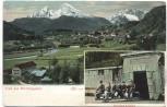 AK Gruß aus Bertesgaden mit Bergwerk Ausfahrt Menschen 1910