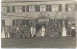 VERKAUFT !!!   AK Foto Vilich Res. Lazarett Weihnachten Soldaten mit Schwestern vor Haus b. Beuel Bonn 1914