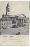 AK Karlsruhe Stadtkirche mit Oldtimer 1906