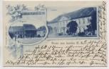 VERKAUFT !!!   AK Gruss aus Loslau Oberschlesien Schloss Ringseite Wodzisław Śląski Polen 1901 RAR