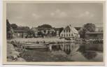 AK Foto Lemkenhafen Pension und Gasthof Ehlert Hafen mit Boot Insel Fehmarn 1950