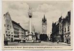 AK Foto Straubing Theresienplatz mit Dreifaltigkeitssäule und Stadtturm Feldpost 1943