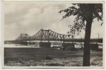 AK Foto Düsseldorf Neusser Brücke mit Holz und Krähnen 1935 RAR