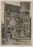 AK Foto Würzburg Rathaus mit Vierröhrenbrunnen und Kindern 1935