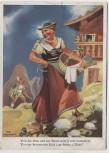 Künstler-AK Koli-Karte Frau in Tracht Von der Alm und der Sünd ... Feldpost 1941